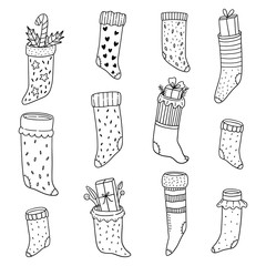 Cute doodle illustration of Christmas  stockings.
