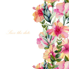 Card template with floral ornament, watercolor hibiscus flowers and green leaves, hand painted on a white background, Save the date card card design