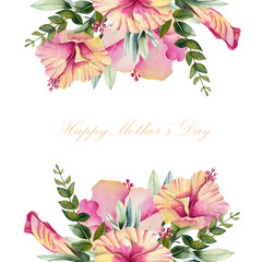 Card template with watercolor hibiscus flowers and green leaves, hand painted on a white background, Mother's day card design