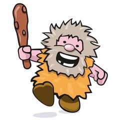 niedlicher rennender Neandertaler mit Keule