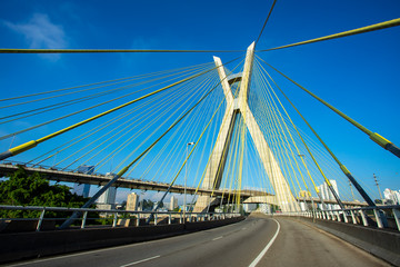 Modern architecture. Modern bridges. Cable-stayed bridge in the world, Sao Paulo Brazil, South America.