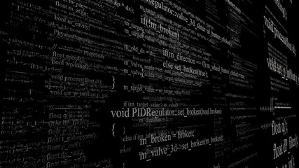 Software source code. Layers of program code on black background