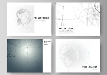 Vector layout of the presentation slides design business templates. Futuristic geometric design with world globe, connecting lines and dots. Global network connections, technology digital concept.