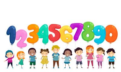 Stickman Kids Balloon Numbers Illustration Wall mural
