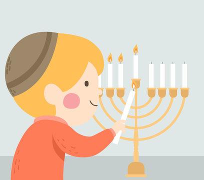 Kid Jewish Candle Lighting Hanukkah Illustration