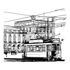 Tuinposter Art Studio Lisbon, Portugal Praca do commercio