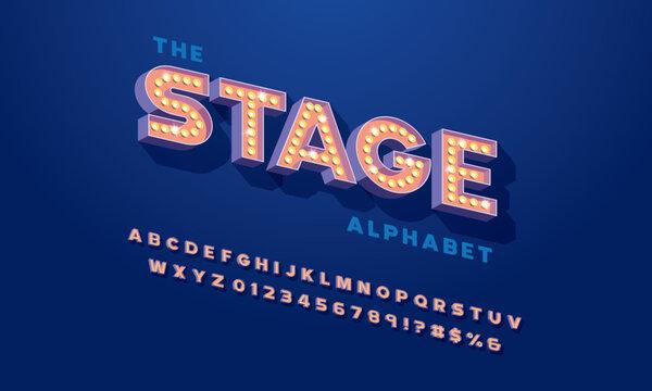 Retro alphabet design with light bulbs
