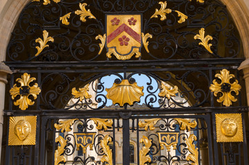 Details of structure and ornaments of wrought iron fence in Oxford City