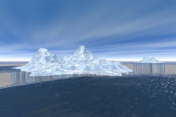 Icebergs, a polar landscape, white ice in a blue sea and a cloudy sky.