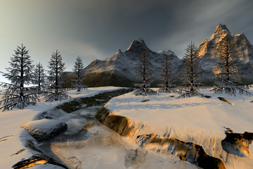 Trees next to the river, a winter landscape, snow on the ground, a beautiful mountain and a cloudy sky.