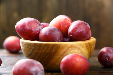 ripe plums place for text
