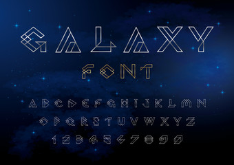 Vector of futuristic alphabet and number