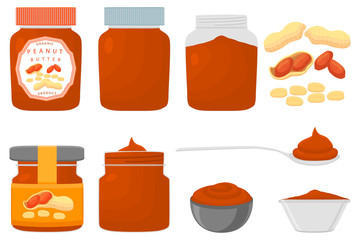 Illustration on theme big colored set different types peanut butter