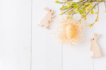 Easter composition with a willow branch