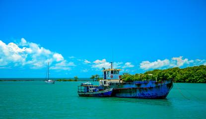 .Fishing boat mooring at the Porto Seguro coast, in the state of Bahia, Brazil.