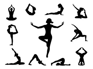 Yoga. Different poses for yoga. Fitness.