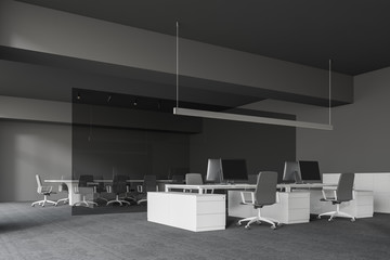 Gray office and meeting room corner