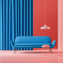 Red living room with blue sofa