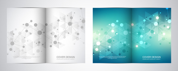 Bi fold brochure template with science and technology background. Geometric texture with molecular structures and chemical engineering.