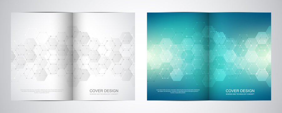 Bi fold brochure template with hexagons pattern. Geometric abstract background of molecular structures and chemical compounds.