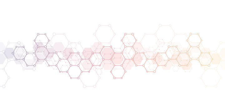 Geometric background texture with molecular structures and chemical engineering. Abstract background of hexagons pattern. Vector illustration for medical or scientific and technological modern design.