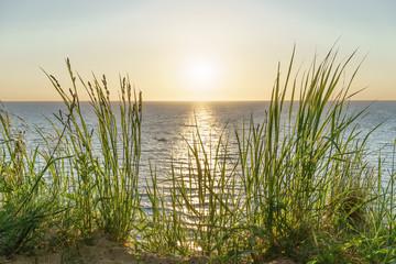 Fototapete - Blick auf das Meer beim Sonnenuntergang