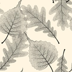 High detail skeleton leaf vector seamless pattern