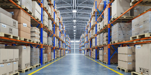 Warehouse or storage and shelves with cardboard boxes. Industrial background.