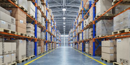 Wall mural Warehouse or storage and shelves with cardboard boxes. Industrial background.