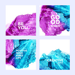 Collection of post template with abstract watercolor shapes. Set of colorful blue and pink vector ink illustrated squares with text.