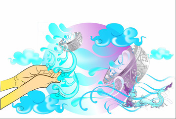 Songkran water festival pattern design