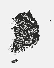 Wall Mural - South Korea map. Poster map of South Korea with regions names. South Korea background. Vector illustration