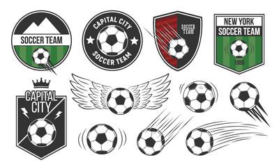 Set of 5 soccer, football logo templates and 6 design elements. Soccer team emblems, labels templates. Vector illustration