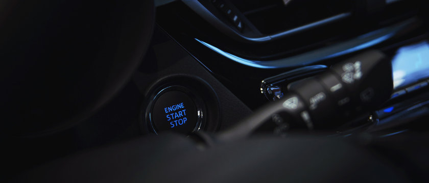 engine start stop button in the car interior
