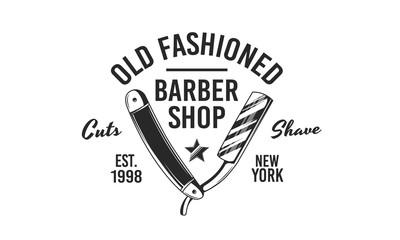 Vintage barber shop emblem. Barber shop logo with barber razor and star. Vintage poster. Retro print for barber shop, haircut's salon, typography. Vector illustration