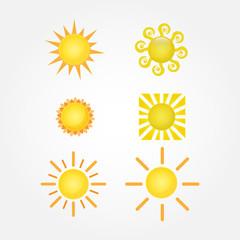 Sun Vector isolated summer icon design. Collection of sun vector icon