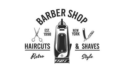 Barber shop logo, label, emblem, sign. Hair clipper, Scissors and Barber razor. Retro print for barber shop, haircut's salon, typography. Vector illustration
