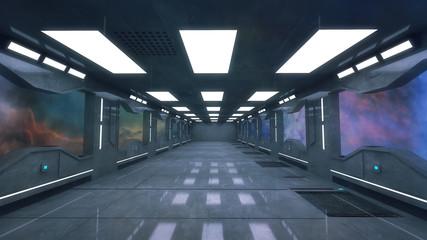 3d render. Futuristic interior corridor architecture
