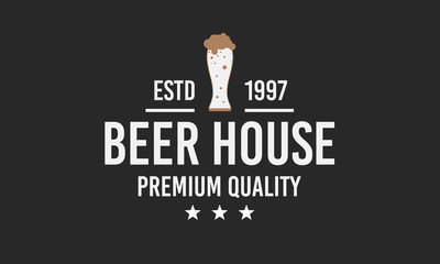 Beer logo. Beer House logo isolated on a black background. Vector illustration