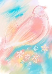 abstract background with flowers and bird