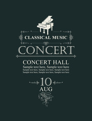 Vector poster for concert or festival of classical music in vintage style with grand piano on the black background