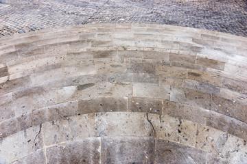 Half round granite stairs steps. Construction detail