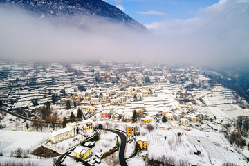Valtellina (IT) - Sondrio - Frazione Sant'Anna - Mossini - Vista aerea invernale