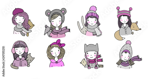 2b1eeac365d Different faces. Girls in winter hats. Funny animals. Hand drawing isolated  objects on
