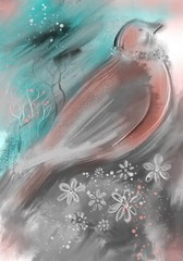 Digital illustration, bird and flower