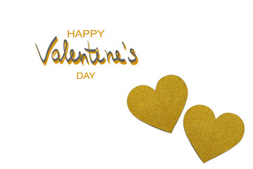 Love hearts on white background. Valentine's day card concept. Paper-cut gold hearts. Heart on Valentine's day background