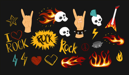 Set of rock and roll sign.Vector illustration