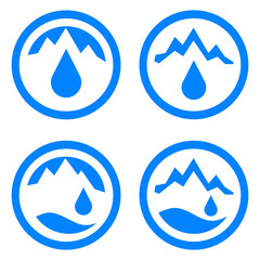Water logo. Symbol of water, natural, mountain, pure. Blue. Vector illustration.