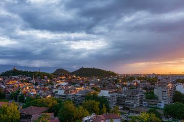 Last sun rays over Plovdiv city during sunset, Bulgaria