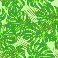Foto op Canvas Tropische Bladeren Tropical seamless pattern with leaves. Beautiful tropical isolated leaves. Fashionable summer background with leaves for fabric, wallpaper, paper, covers.